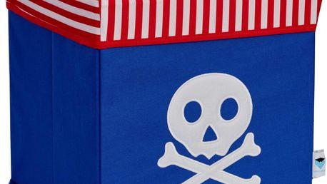 STORE !T Úložný box s víkem Pirátská lebka, 35x35x35 cm, Modrá