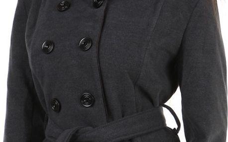 Dámský kabát s páskem- i pro plnoštíhlé šedá