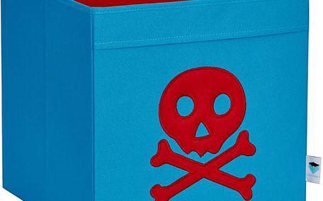 STORE !T Úložný box Pirátská lebka, 33x33x33 cm - modrý, Modrá