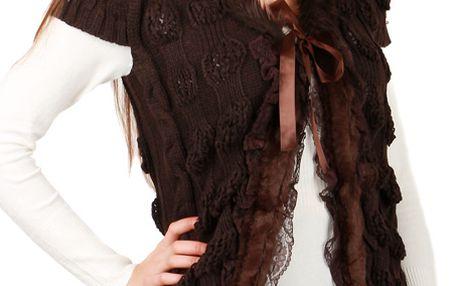 Dámská vesta s umělou kožešinou hnědá