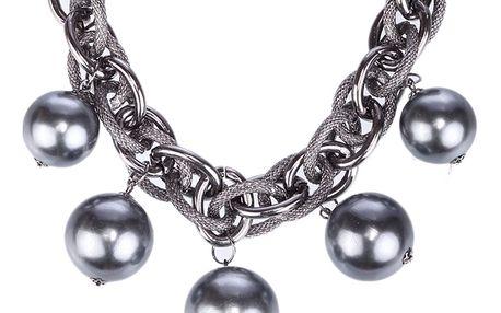 Fashion Icon Náhrdelník perly a řetízek z kroužků
