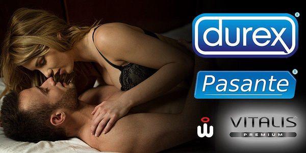 Balíčky značkových kondomů Durex nebo Pasante