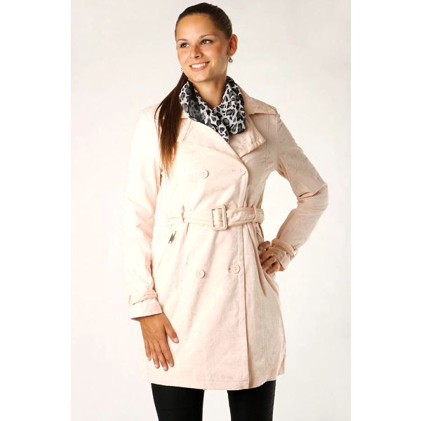 Dámský jarní stylový kabátek s imitací krajky bílá