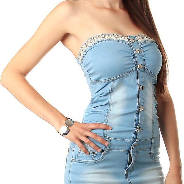 Džínové mini šaty bez ramínek