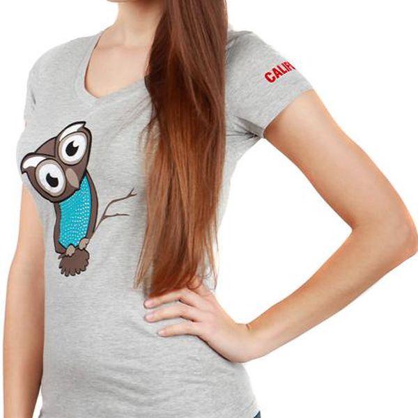 Veselé tričko se sovou šedá