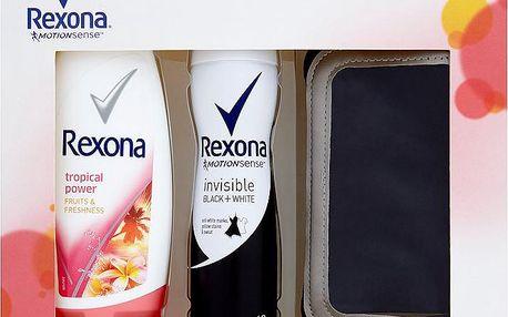Dárková kazeta Rexona deospray Black&White + sprchový gel Tropical Power + sportovní pouzdro na telefon 150 ml + 250 ml