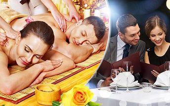 Romantický večer pro 2 osoby! 3chodová večeře + 90-120min. aroma masáž! Gastro-wellness zážitek!