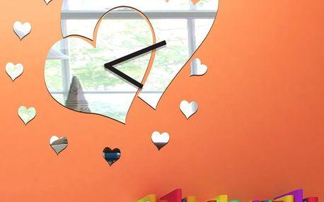 Zrcadlové hodiny Hearts Clock
