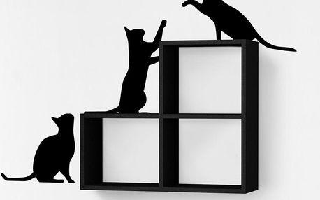 Nástěnná police se samolepkou Cats, černá - doprava zdarma!