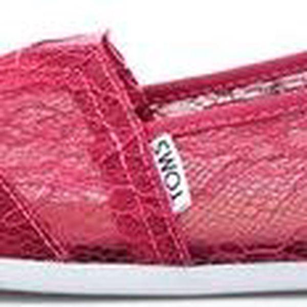 Malinové dámské krajkované loafers Toms Lace