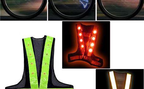 LED svítící efekty a LED reflexní výstražná vesta pro bezpečnou jízdu na kole.