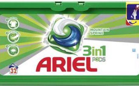 Ariel Active gel Mountain Spring kapsle a bílé prádlo 32ks