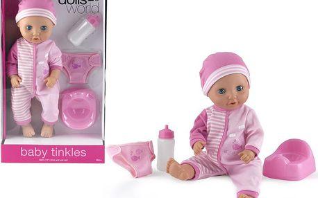 HM Studio Panenka baby tinkles 38 cm (láhev,nočník,plenky), Růžová