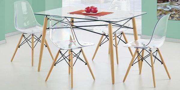 Stůl Dominos (sklo - transparentní / buk)