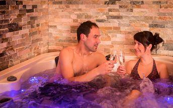 VIP apartmá s vířivkou a finskou saunou, snídaní a vínem