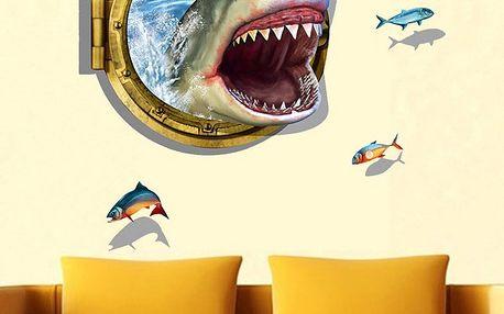 3D samolepka s útočícím žralokem