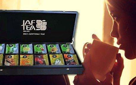 Dárková dřevěná krabice prémiových čajů značky JAF