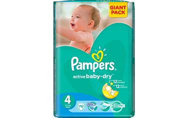 GIANTPACK 76 ks Pampers Active Baby 4 Maxi 7-14kg