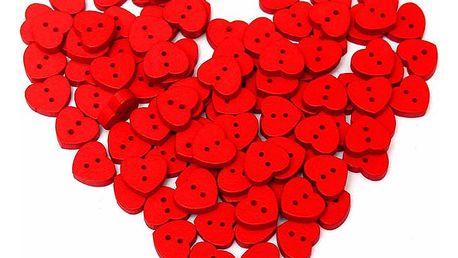 Sada 100 ks dřevěných knoflíků v podobě srdce