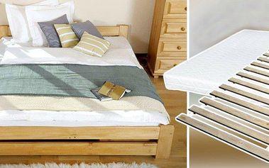 Masivní postel z přírodní borovice s roštem