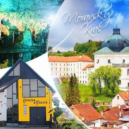 Moravský kras! Romantický pobyt na 3 dny pro dva včetně snídaní, večeří při svíčkách a sektu, poblíž propasti Macocha!