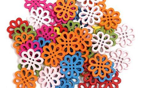 Set 50 knoflíků v podobě kytiček