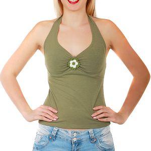 Dámské tílko za krk zelená