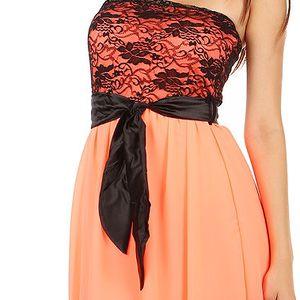 Krásné šaty s delším zadním dílem neon oranžová