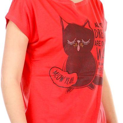 Moderní tričko s potiskem korálová