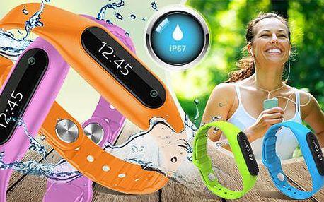 Silikonový fitness náramek s bluetooth + krokoměr, počítadlo kalorií a monitor spánku. Poštovné v ceně!