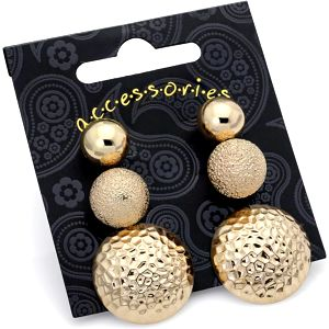 SET: Tři páry náušnic ve zlaté barvě Riya 29826