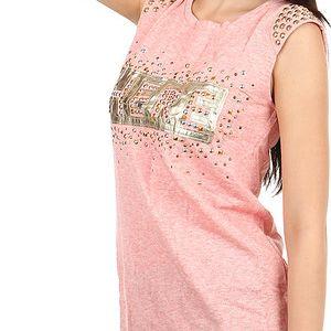 Moderní tričko s nápisem a kamínky růžová