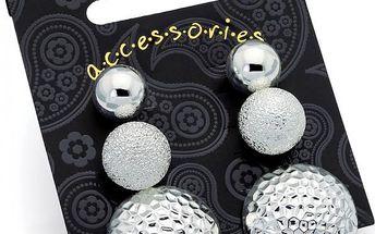 SET: Tři páry náušnic ve stříbrné barvě Riya 29827