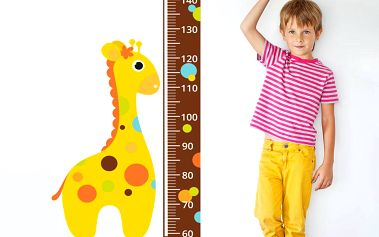 Housedecor Samolepka na zeď - metr a žirafa