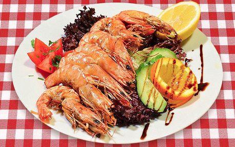 Lahodné krevety z grilu a domácí pečivo pro dva