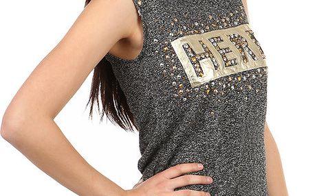 Moderní tričko s nápisem a kamínky béžová