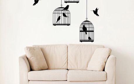 Samolepka na stěnu Ptáci a klece