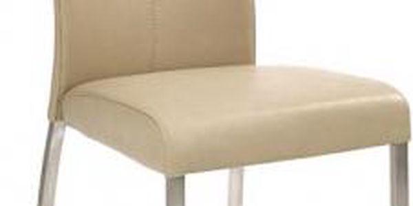 Jídelní židle K178 (eko kůže béžová,ocel)