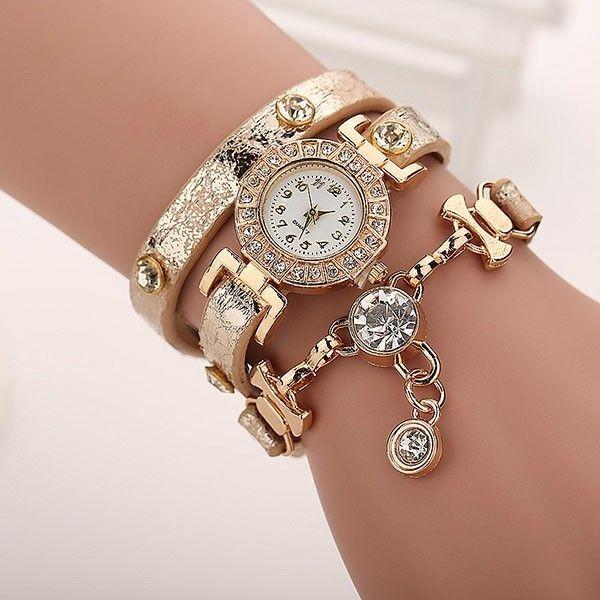 Dámské vícevrstvé hodinky s kamínky - béžová - dodání do 2 dnů