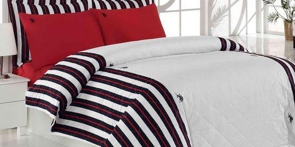 Sada přehozu přes postel a prostěradla U.S. Polo Assn Minnesota, 180x230 cm - doprava zdarma!