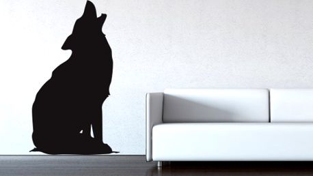 Samolepka na zeď - Vyjící vlk