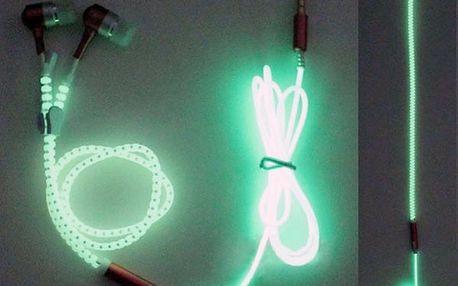 Svítící sluchátka se zipem - 3.5 mm - dodání do 2 dnů