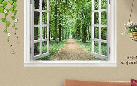Samolepka na zeď - okno s výhledem do přírody - dodání do 2 dnů