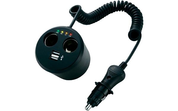 Napájecí adaptér rozbočka pro autozásuvky , 10 A, s 2 x USB a indikací stavu baterie