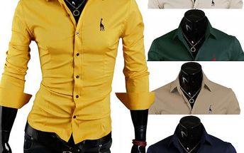 Ležérní pánská košile s logem v 5 barvách - žlutá, vel. 8