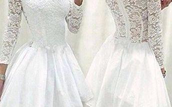 Sexy krajkové bílé šaty - bílé, vel. 5