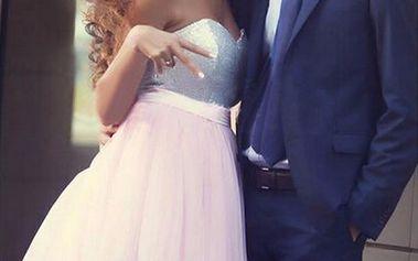 Luxusní plesové šaty s tylovou sukní - růžová, vel. 4