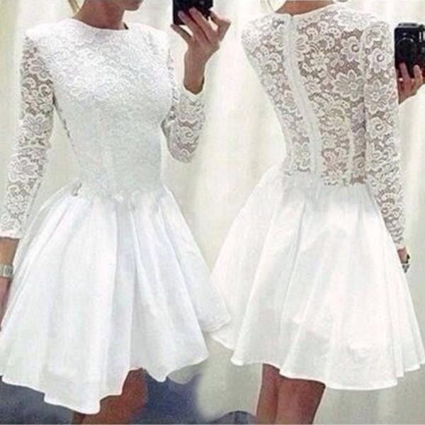 Sexy krajkové bílé šaty - bílá, velikost 6