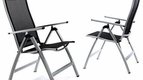 Garthen 35214 Sada 2 x extra široké zahradní židle polohovatelná - černá