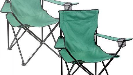 Sada 2x Skládací kempinková židle DELUXE - zelená